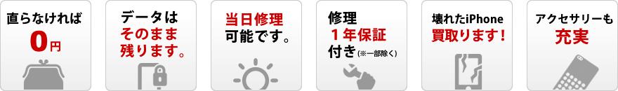 直らなければ0円。データはそのまま残ります。当日修理可能です。修理1年保証付き(※一部除く)。壊れたiPhone買い取ります!アクセサリーも充実